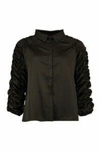 Womens Satin Ruched Sleeve Shirt - Black - 14, Black