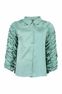 Womens Satin Ruched Sleeve Shirt - Green - 12, Green