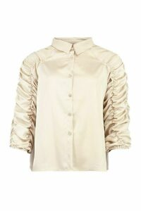 Womens Satin Ruched Sleeve Shirt - Beige - 12, Beige