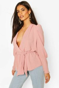 Womens Puff Sleeve Wrap Blouse - Pink - 8, Pink