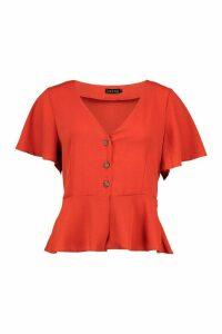 Womens Button V Neck Peplum Top - Orange - Xs, Orange