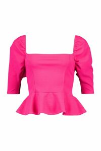 Womens Puff Sleeve Square Neck Peplum Top - Pink - 14, Pink