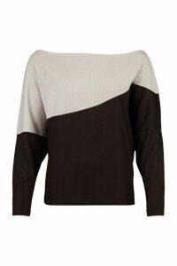 Womens Asymmetric Colour Block Top - Grey - 12, Grey