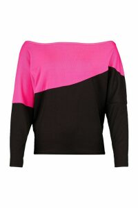 Womens Asymmetric Colour Block Top - Pink - 12, Pink