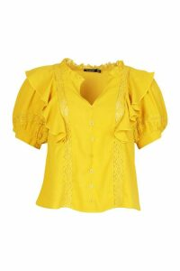 Womens Lace Insert Ruffle Blouse - Yellow - 16, Yellow