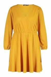 Womens Plus Crepe Blouson Sleeve Skater Dress - Yellow - 20, Yellow
