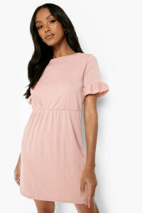 Womens Petite Frill Sleeve Smock Dress - Pink - 10, Pink
