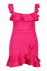 Womens Plus Scuba Ruffle Strappy Mini Dress - Pink - 24, Pink