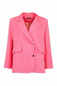 Womens Neon Oversized Blazer - Pink - 14, Pink