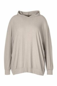 Womens Plus Soft Rib Hoodie - Grey - 20, Grey