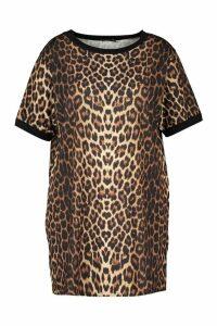 Womens Plus Leopard Ringer T-Shirt Dress - Brown - 20, Brown