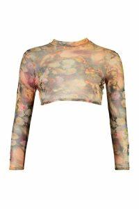 Womens Petite Cherub Mesh Printed Long Sleeve Top - Beige - 14, Beige