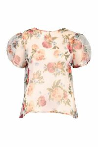 Womens Plus Blurred Floral Organza Puff Sleeve Top - White - 22, White