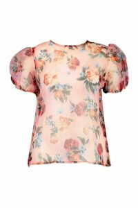 Womens Plus Blurred Floral Organza Puff Sleeve Top - Pink - 16, Pink