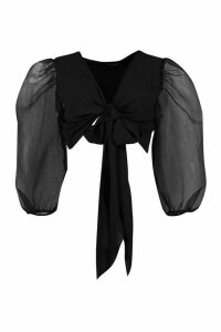 Womens Petite Organza Volume Sleeve Satin Tie Front Top - Black - 4, Black