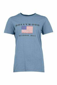 Womens Petite Hollywood Flag T-Shirt - Blue - M, Blue