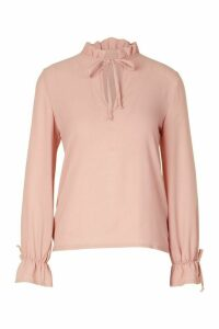 Womens Petite Tie Cuff Blouse - Pink - 8, Pink