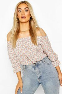 Womens Plus Floral Off The Shoulder Bardot Top - White - 20, White