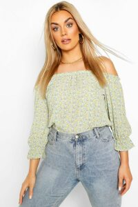 Womens Plus Floral Off The Shoulder Bardot Top - Green - 20, Green