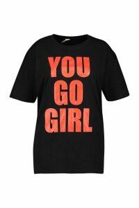 Womens Plus You Go Girl Slogan T-Shirt - Black - Xxl, Black