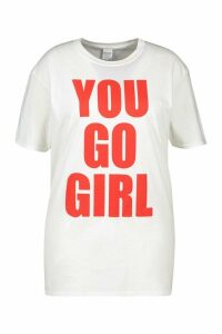 Womens Plus You Go Girl Slogan T-Shirt - White - Xxl, White