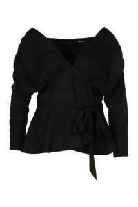 Womens Plus Ruched Belted Peplum Blouse - Black - 24, Black