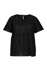 Womens Plus Broiderie Smock Top - Black - 20, Black