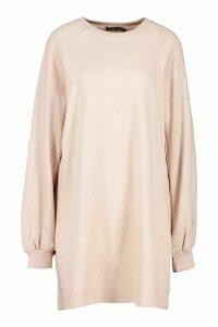 Womens Oversized Sweat Dress - Beige - Xl, Beige