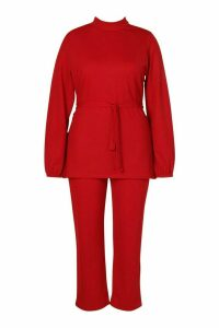 Womens Plus Belted Top & Tailored Trouser Co-Ord - 20, Red