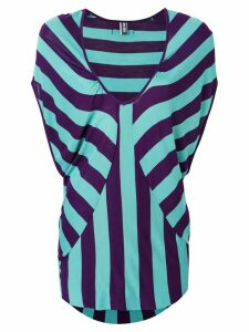 Jean Paul Gaultier Pre-Owned striped v-neck top - Green