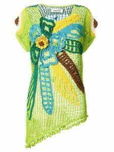 Kansai Yamamoto Pre-Owned flower design crochet top - Multicolour