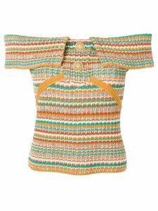 Chanel Pre-Owned off-shoulder knit top - ORANGE