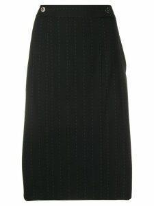 Salvatore Ferragamo Pre-Owned 2000's pinstripe straight skirt - Black