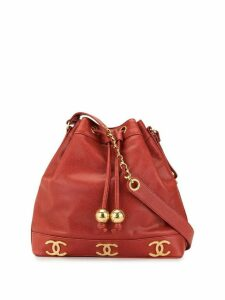 Chanel Pre-Owned CC drawstring chain shoulder bag - Red