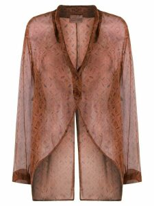 Romeo Gigli Pre-Owned 1998 floral sheer blouse - Brown