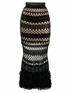 Jean Paul Gaultier Pre-Owned 2000s fitted crochet skirt - Black