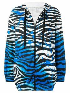 No Ka' Oi zebra zipped hoodie - Blue
