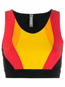 No Ka' Oi colour blocked sports crop top - Black