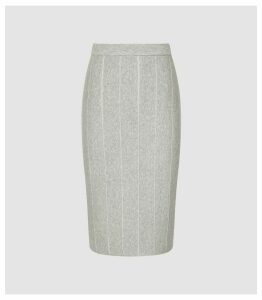 Reiss Rachel - Knitted Pencil Skirt in Grey, Womens, Size XXL