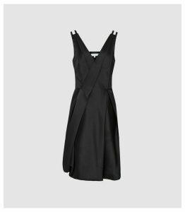 Reiss Nicole - Bubble Hem Mini Dress in Black, Womens, Size 16