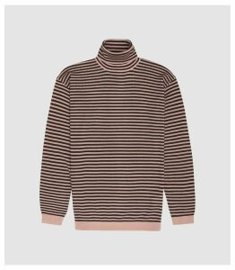 Reiss Cedric - Striped Rollneck Jumper in Soft Pink/ Bordeaux, Mens, Size XXL