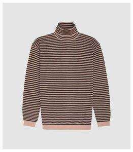 Reiss Cedric - Striped Rollneck Jumper in Soft Pink/ Bordeaux, Mens, Size XXL