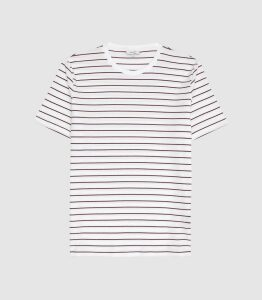 Reiss Joseph - Textured Striped T-shirt in Ecru/ Bordeaux, Mens, Size XXL