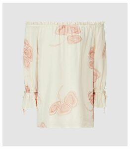 Reiss Elise - Floral Printed Bardot Top in Multi White, Womens, Size 14