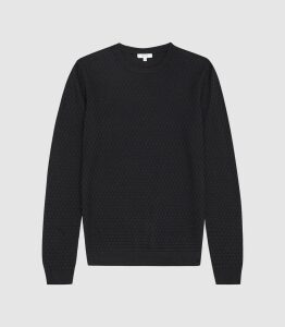 Reiss Randolf - Textured Crew Neck Jumper in Navy, Mens, Size XXL