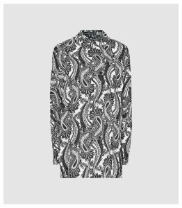 Reiss Fion - Paisley Printed Shirt in Black/white, Womens, Size 14