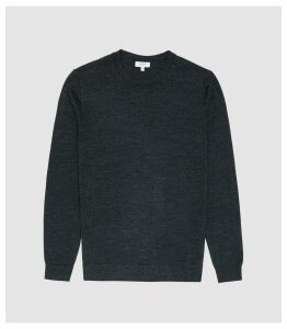 Reiss Wessex - Merino Wool Jumper in Indigo Mouline, Mens, Size XXL