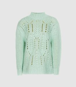 Reiss Amber - Open Knit Jumper in Green, Womens, Size XL