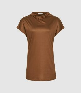 Reiss Pax - High Neck Top in Camel, Womens, Size XL