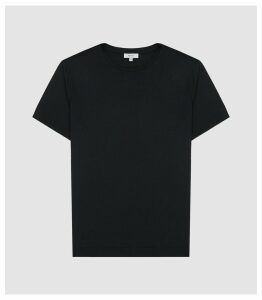 Reiss Iona - Self-start Rib-knit T-shirt in Navy, Mens, Size XXL